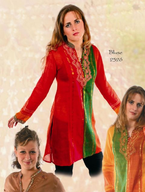2-2526 Hippy Kurta~Bohemian Traditional Handwoven & Embroidered Kurta~Folio Gothic Hippy